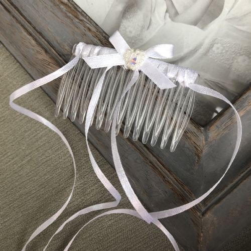 Holy Communion ribbons hair comb